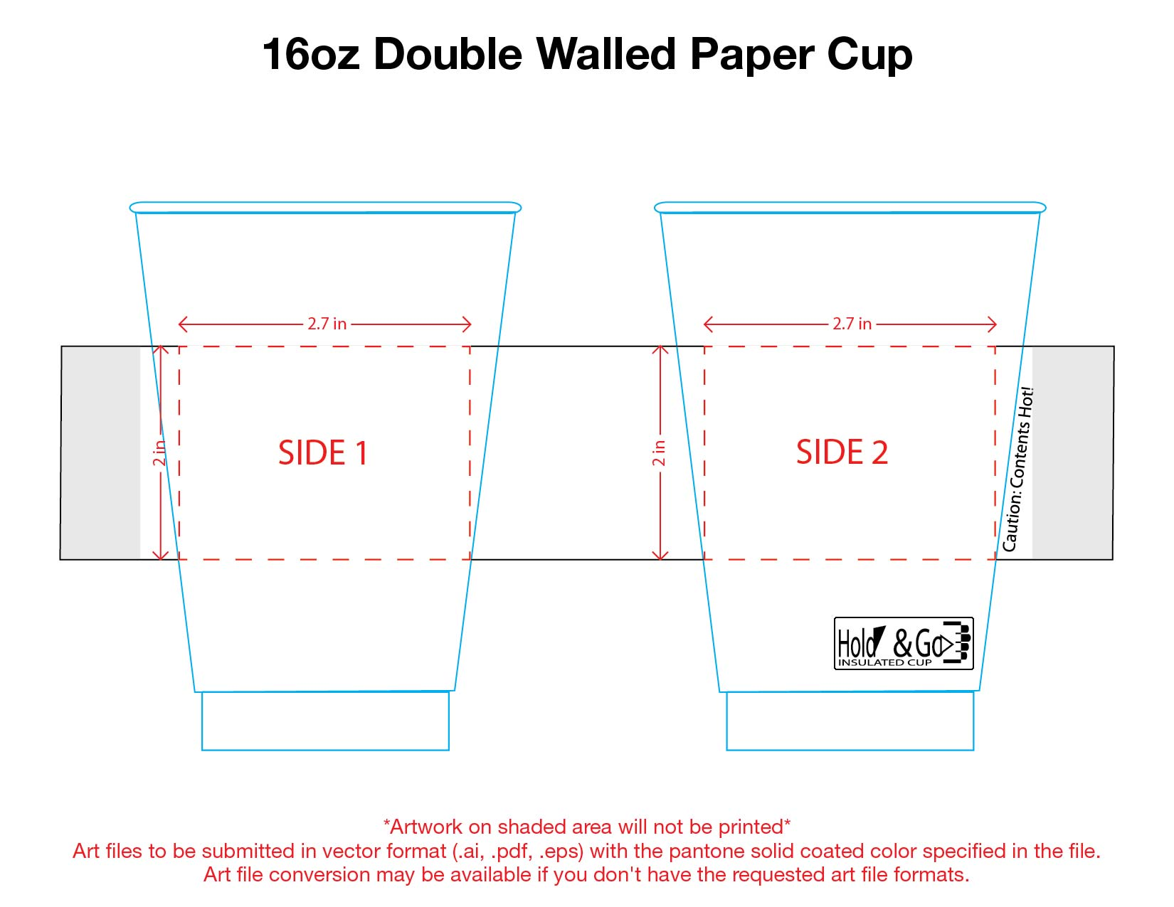 16 oz. Custom Printed Recyclable Double Walled Paper