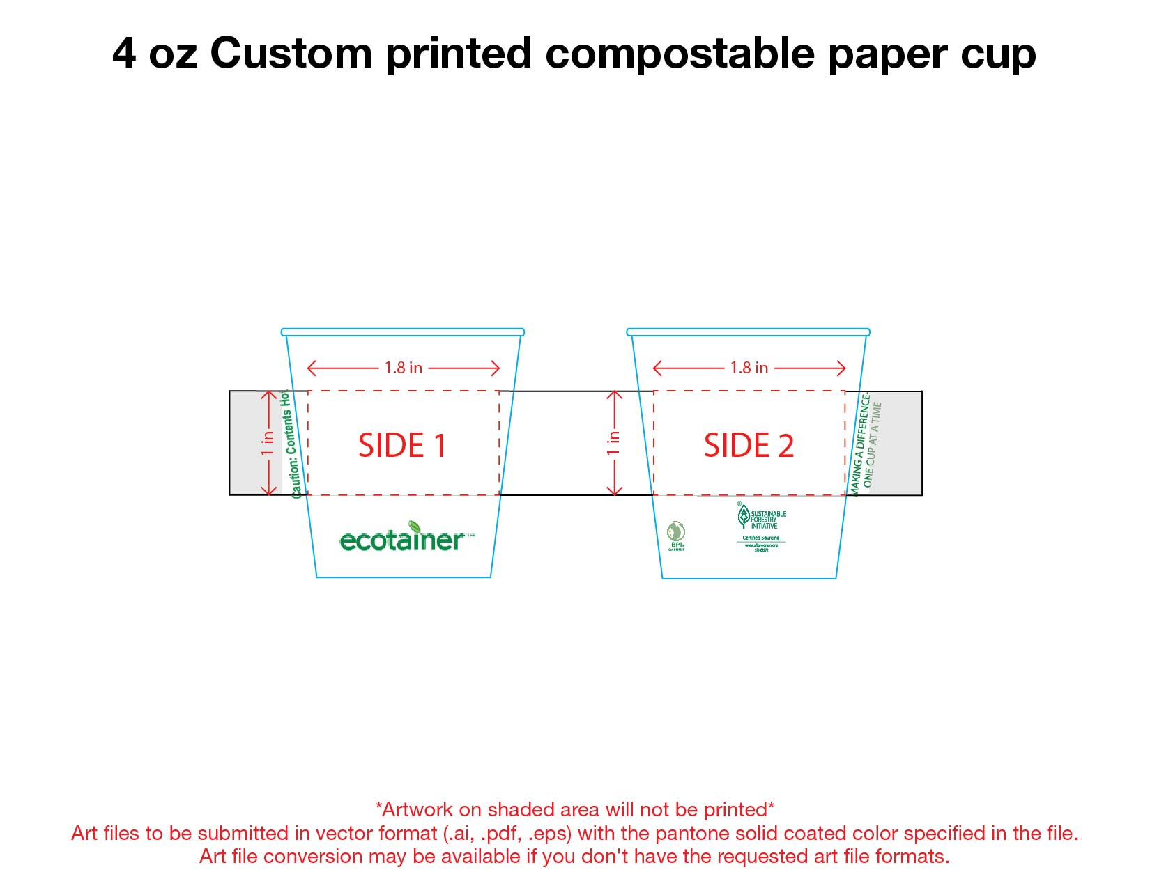 4 oz. Custom Printed Compostable Paper