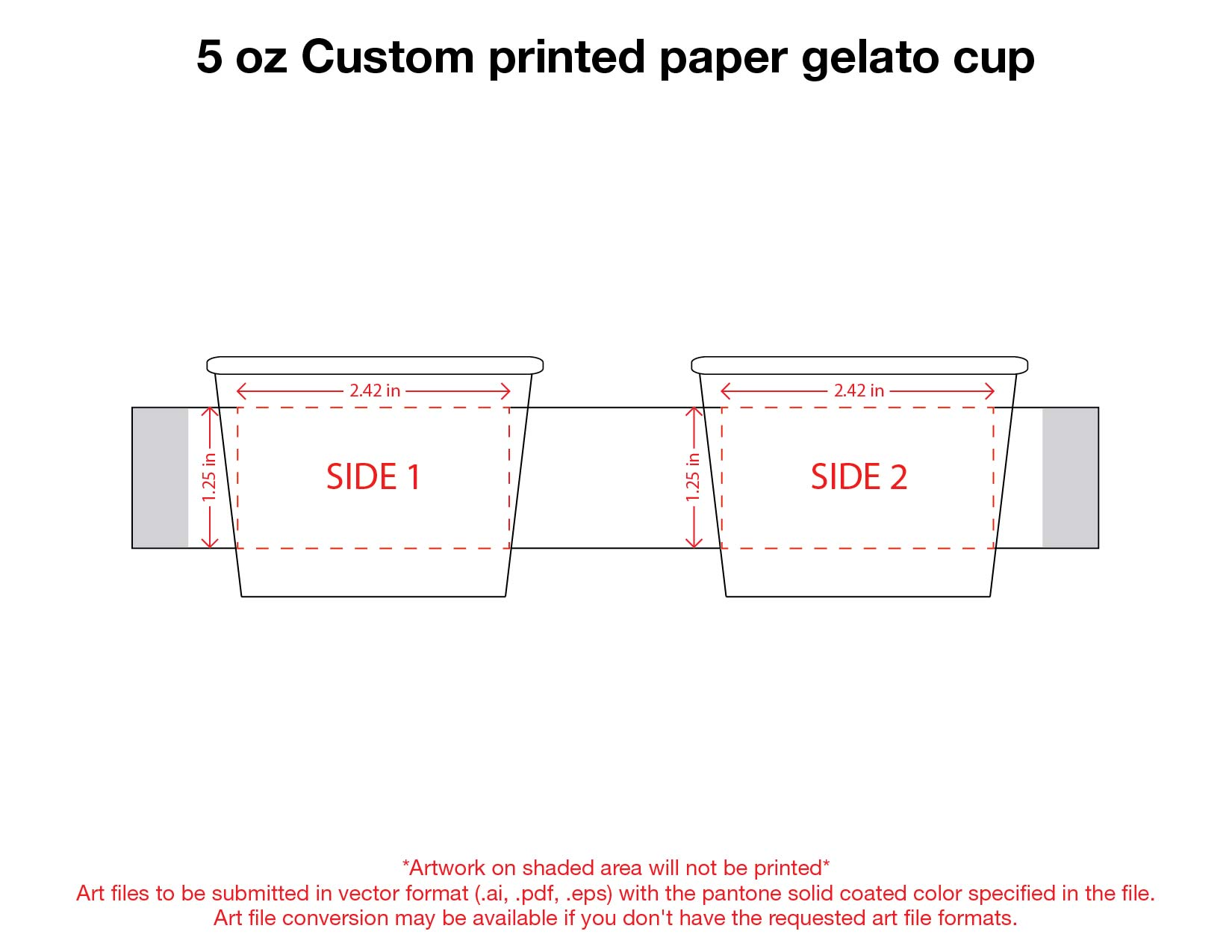 5 oz. Custom Printed Recyclable Gelato Paper
