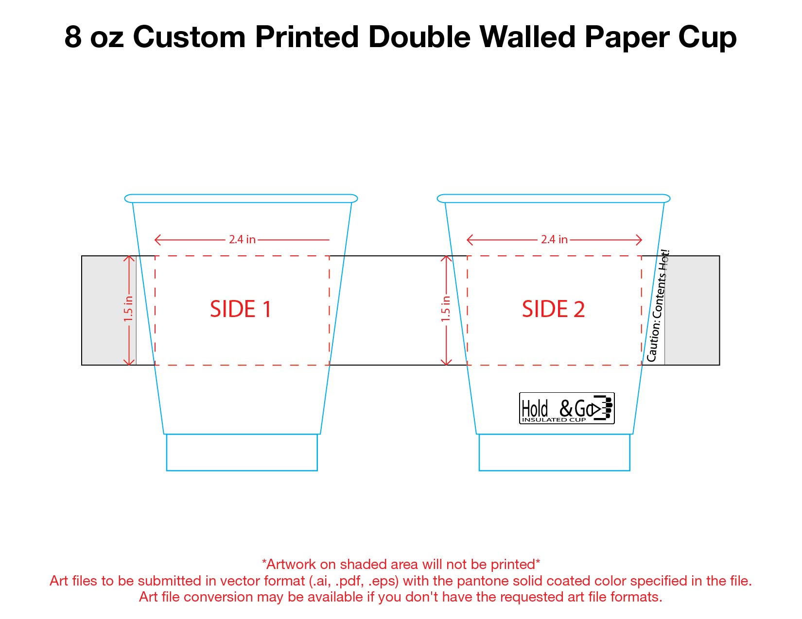 8 oz. Custom Printed Recyclable Double Walled Paper