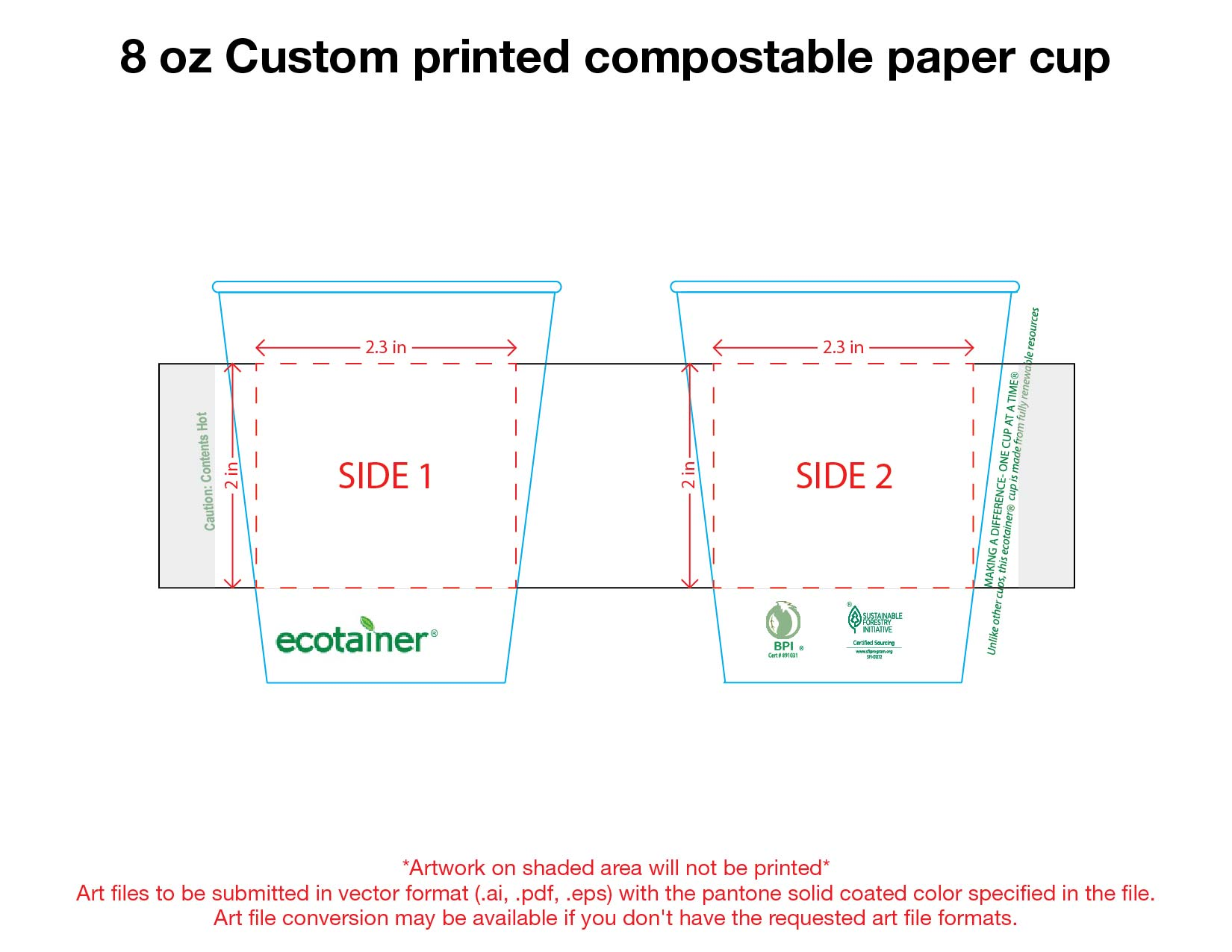 8 oz. Custom Printed Compostable Paper