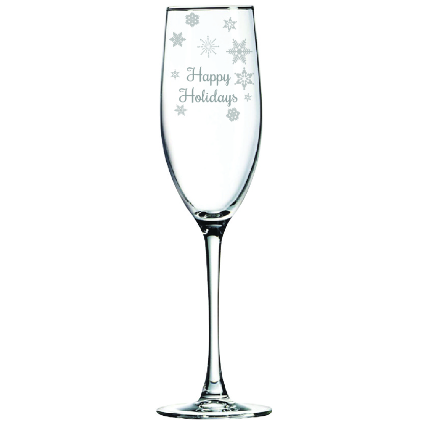 Happy Holidays 8 oz. Champagne Flute (Set of 12)