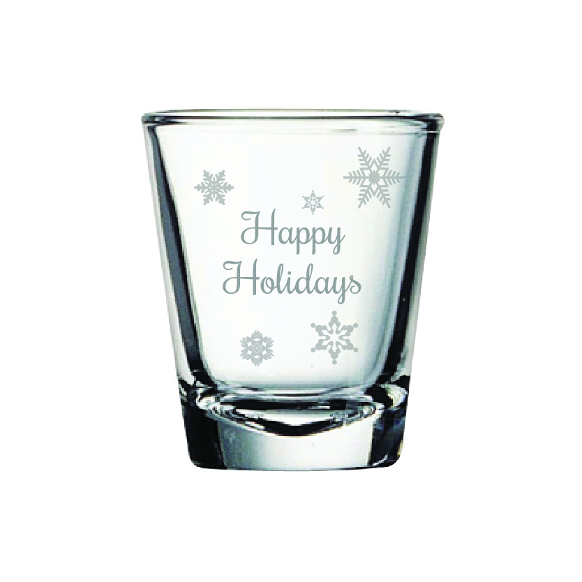 Happy Holidays 2 oz. Shot Glass (Set of 12)