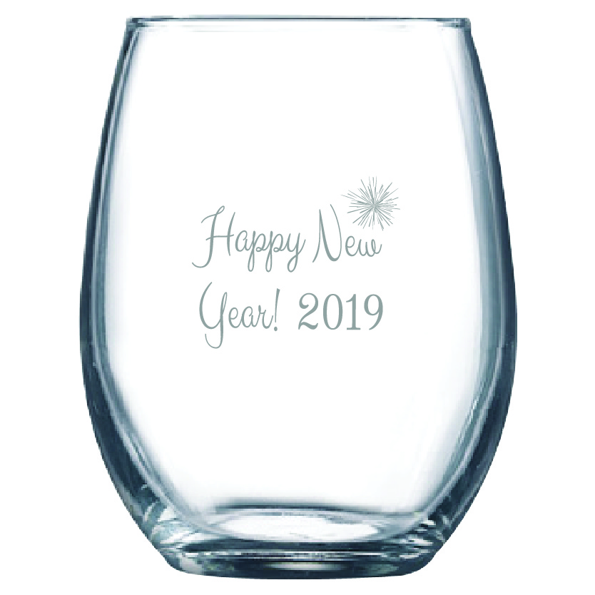 Happy New Year 9 oz. Stemless Wine Glass (Set of 12)